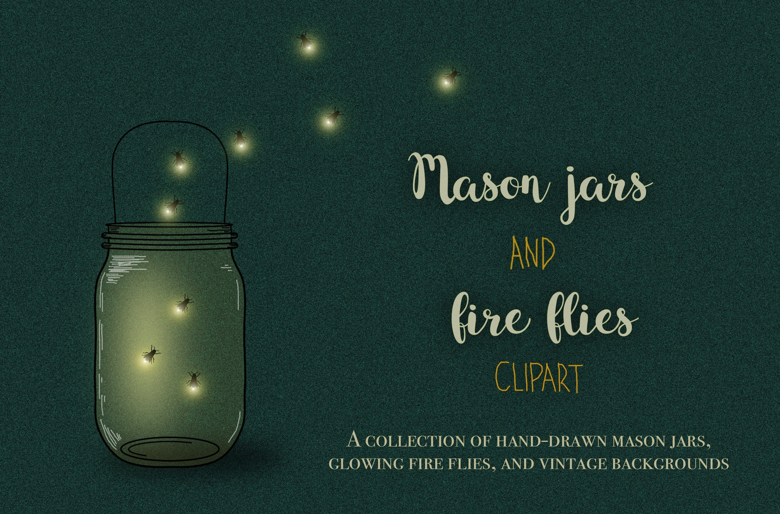 Firefly clipart vintage. Mason jars and fireflies