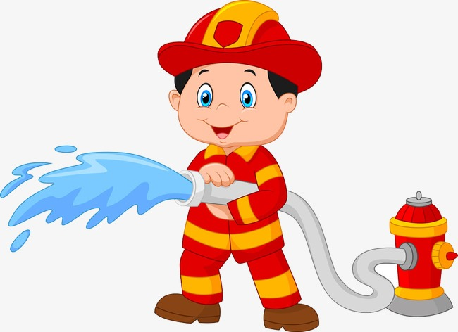 Fireman clipart. Cartoon fire extinguisher character
