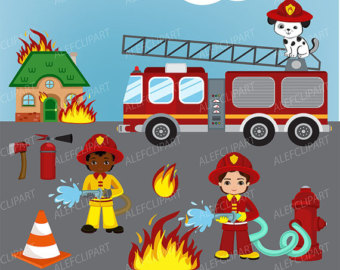 Fireman clipart. Etsy firefighter digital boys