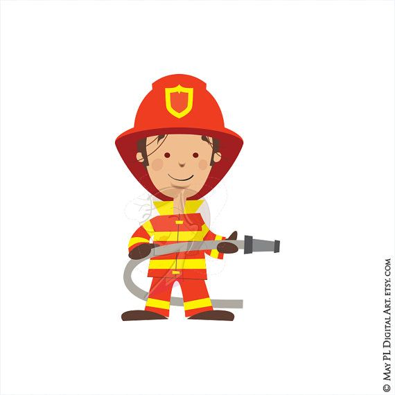 Firefighter fire truck engine. Fireman clipart