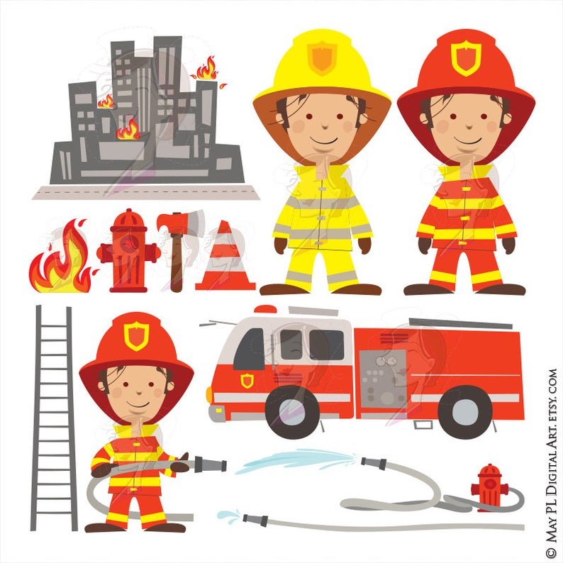 Fireman clipart accessories. Birthday party features firefighter