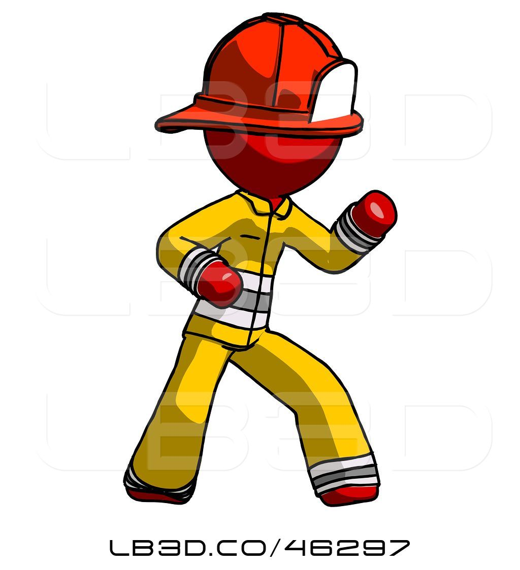 Fireman clipart attached. Illustration of cartoon red
