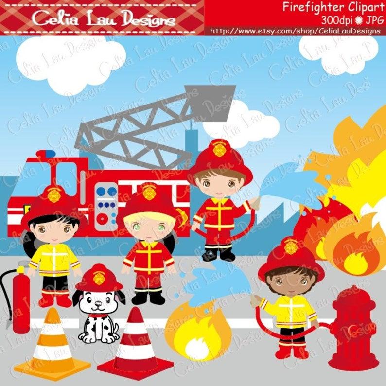 Fireman clipart background. Cute firefighter clip art