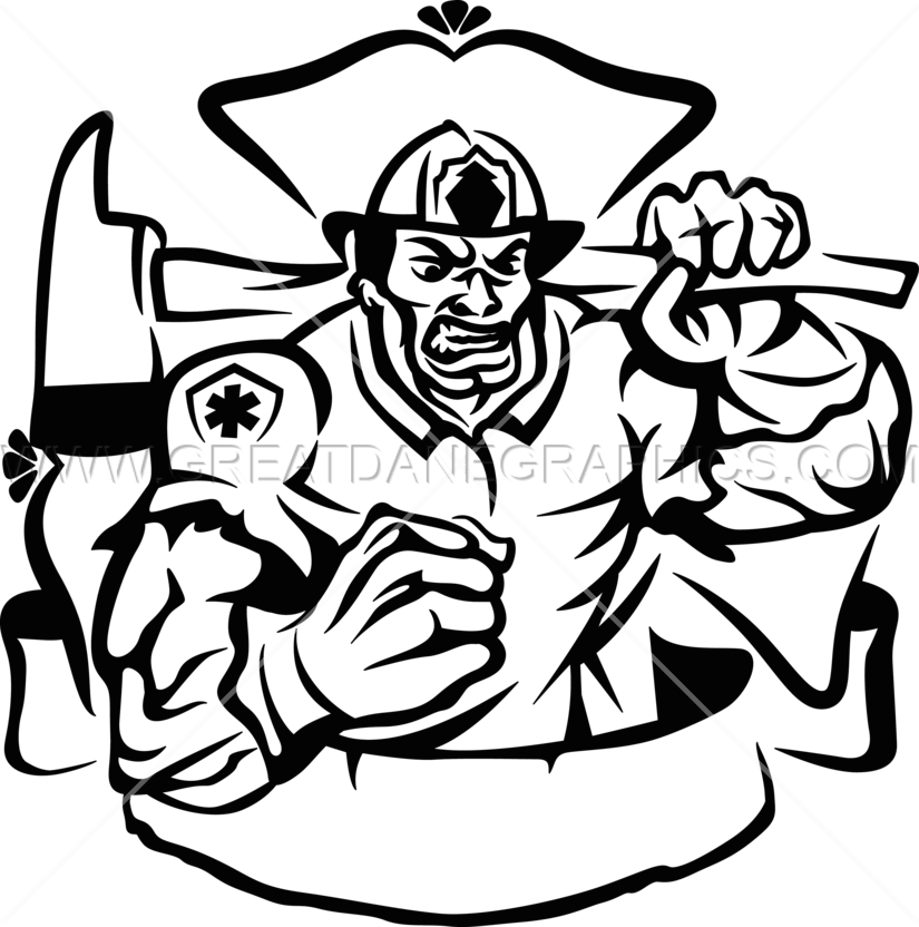 Fireman clipart black and white. Beast production ready artwork