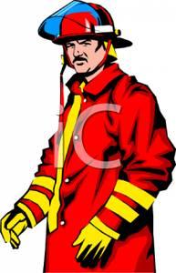 In a red panda. Fireman clipart coat
