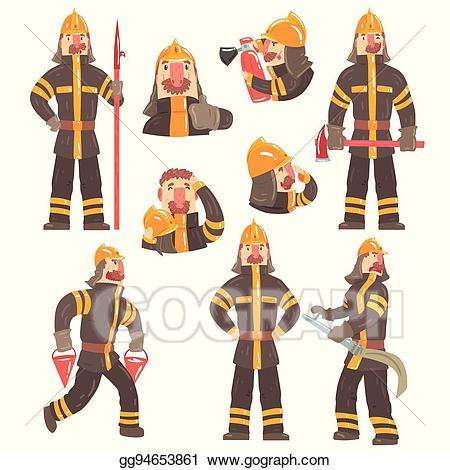 Vector art funny at. Fireman clipart coat