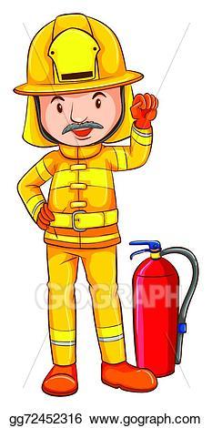 Vector a coloured drawing. Fireman clipart colour