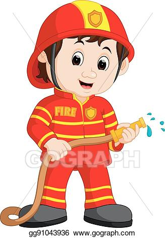Fireman clipart cute. Vector illustration cartoon eps