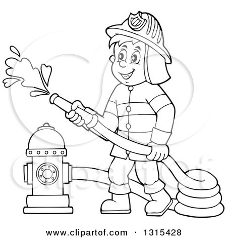 Fireman clipart draw. Firefighter cartoon drawing at