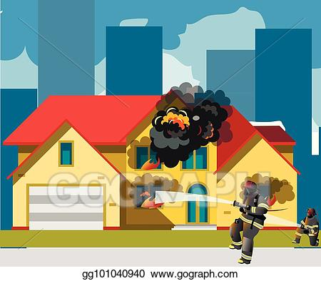 Vector art on with. Fireman clipart home fire