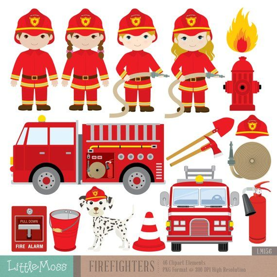 Firefighters digital products in. Fireman clipart items