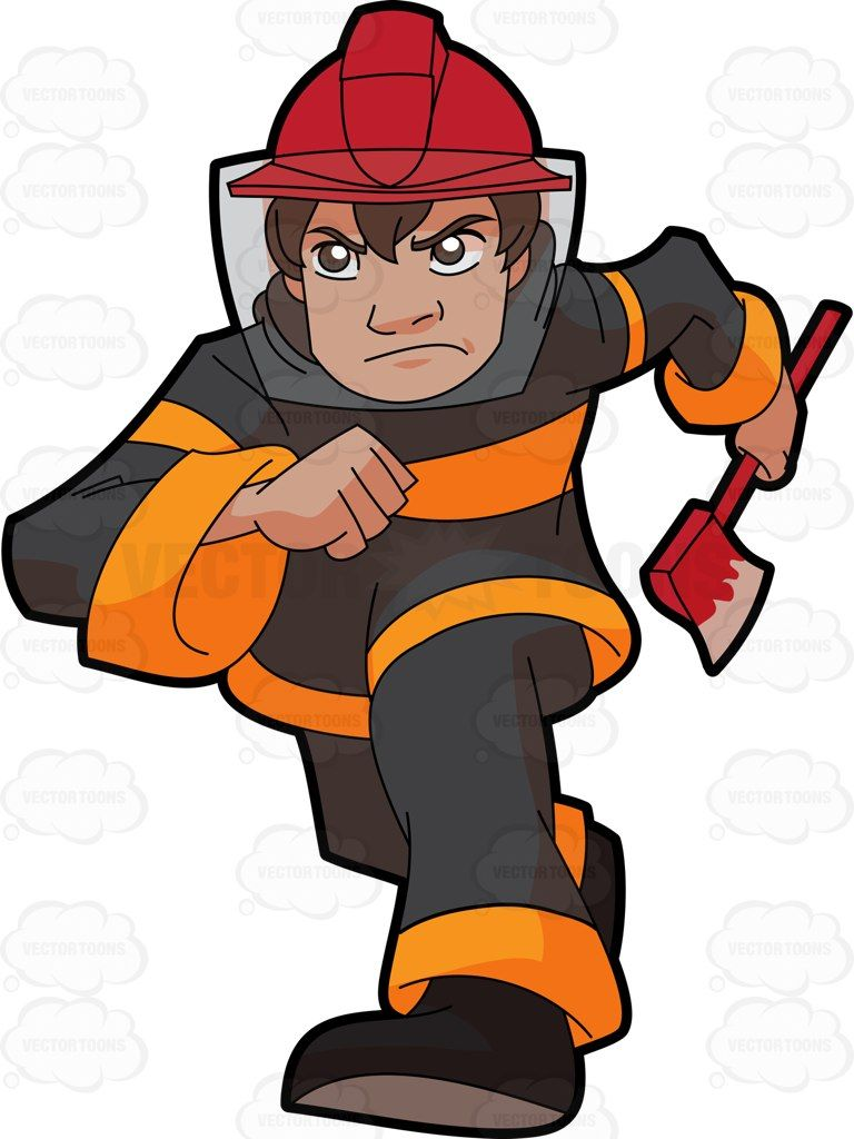 Fireman clipart male firefighter. A running to the