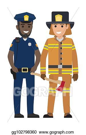 Vector stock set of. Fireman clipart officer