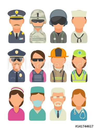 Icon people soldier pilot. Fireman clipart officer