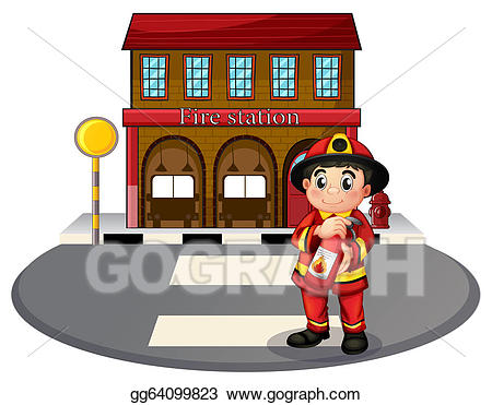 Vector art a holding. Fireman clipart public servant