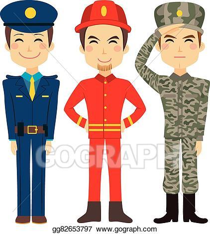 Vector stock service worker. Fireman clipart public servant