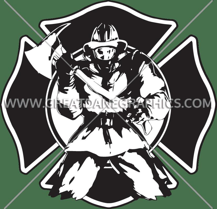 Axe production ready artwork. Fireman clipart shield