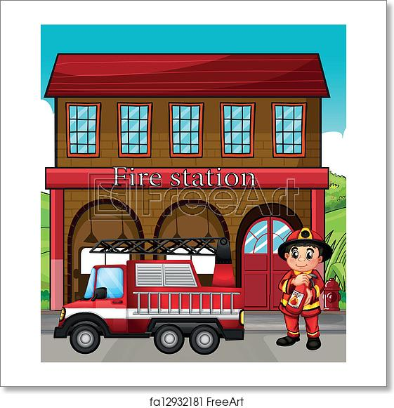 Fireman clipart station. Free art print of
