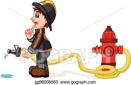 Vector holding a yellow. Fireman clipart water hose
