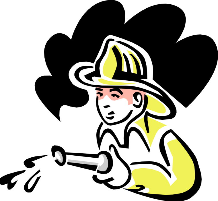 Fireman clipart water hose. Child with vector image