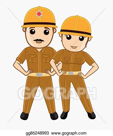 Fireman clipart worker indian. Vector male and female