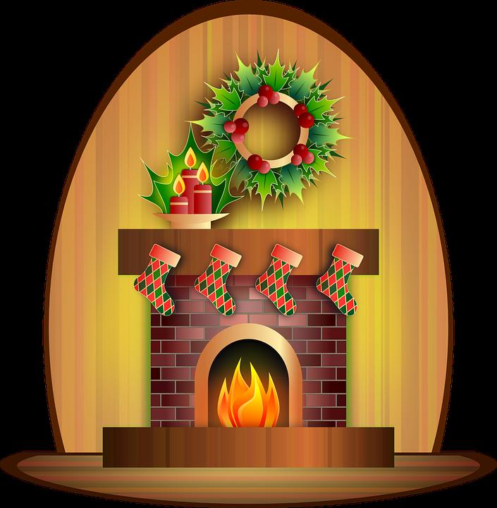 Gratis obraz na pixabay. Fireplace clipart christmas tree fireplace