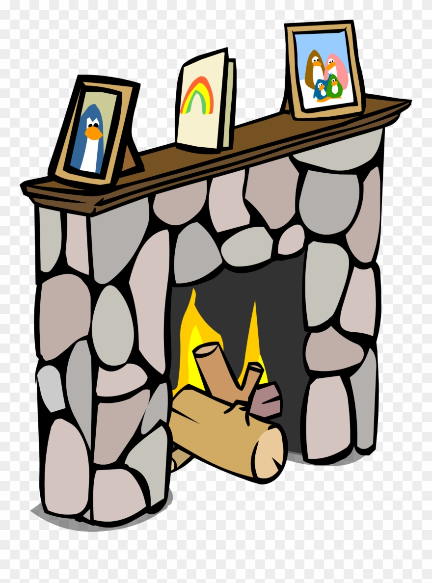 Fireplace clipart comic. Club penguin png download