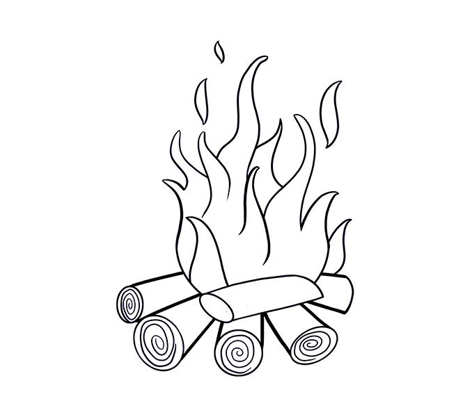 collection of fire. Fireplace clipart draw