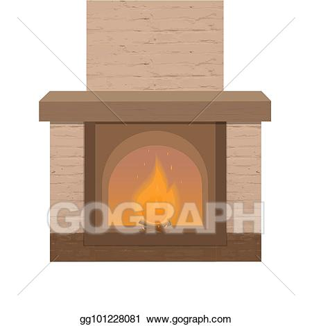 Vector brick fireplace with. Firewood clipart chimney fire