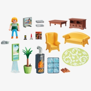 Living room set playmobil. Fireplace clipart live
