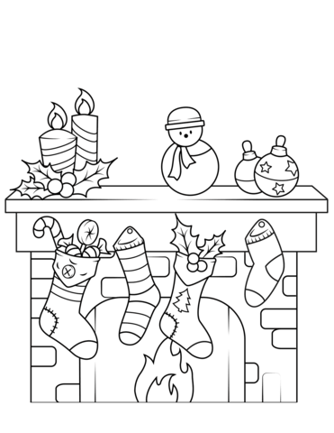 Christmas coloring page free. Fireplace clipart printable