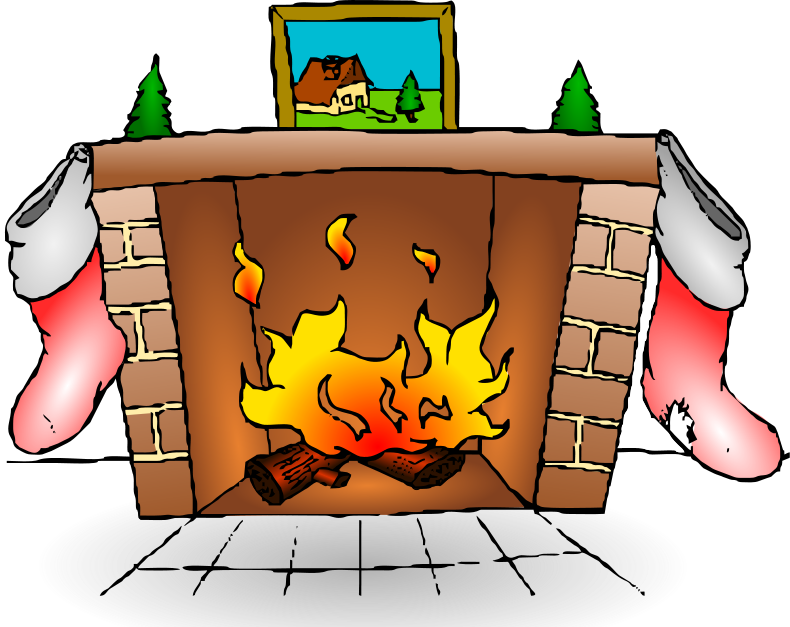 collection of with. Fireplace clipart stocking clipart