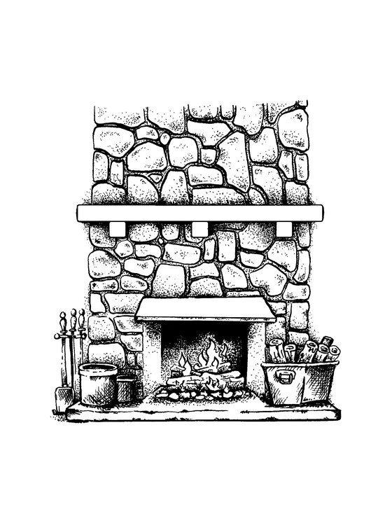 Fireplace clipart stone fireplace.