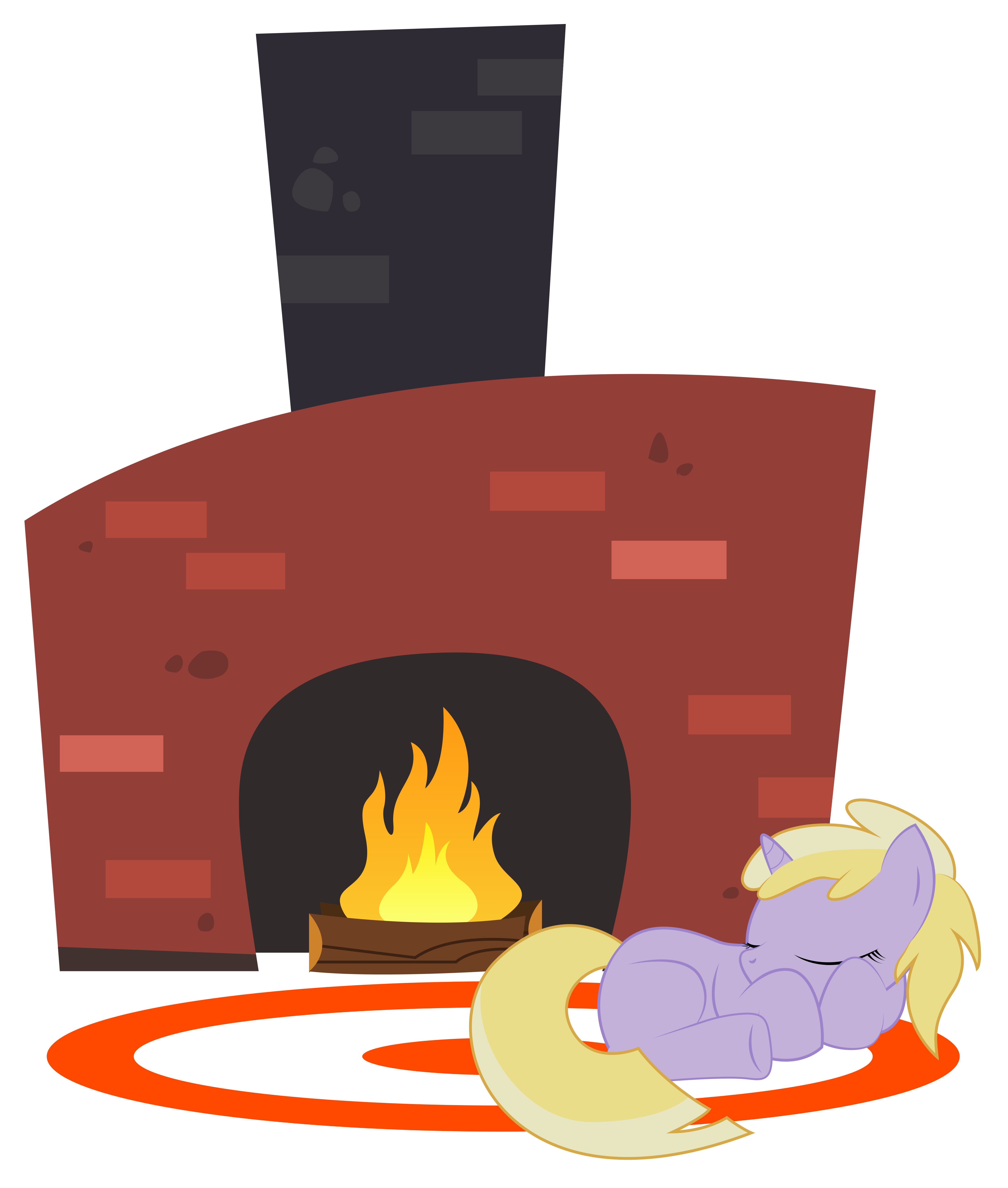 Dinky sleeping in front. Fireplace clipart vector