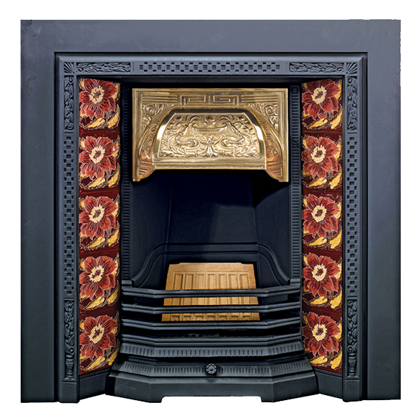 Fireplace clipart victorian fireplace. Stovax chrysanthemum tile store