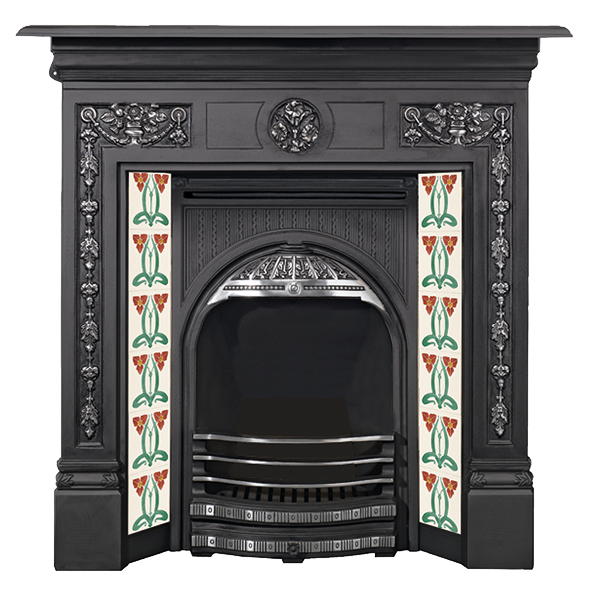 Fireplace clipart victorian fireplace. Stovax water plantain tile