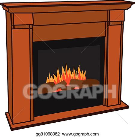 Fireplace clipart warm fire. Vector art electric for