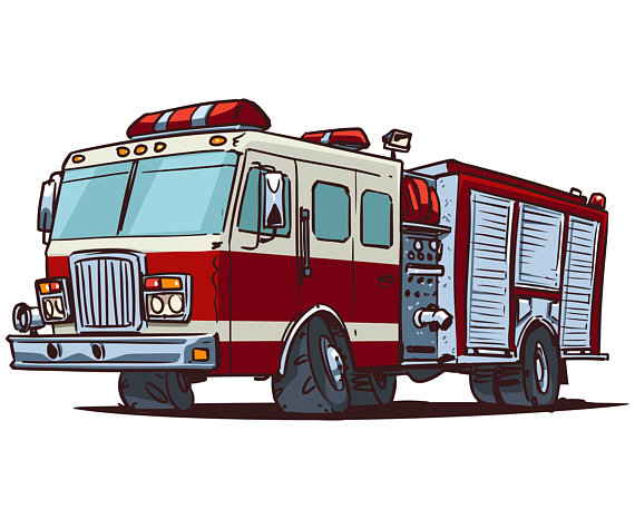 Fire truck red cartoon. Firetruck clipart