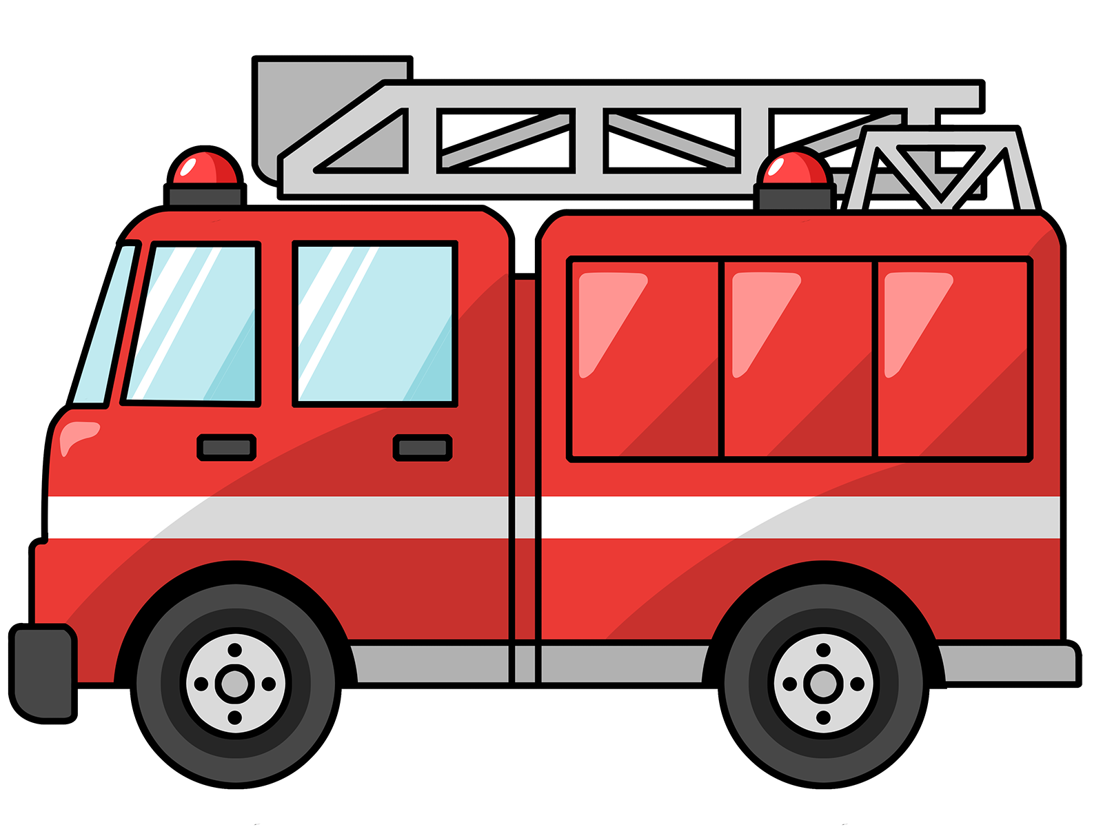 Motorcycle clipart cartoon character. Fire truck panda free