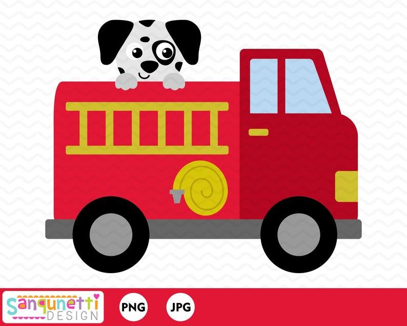 Fire truck with dalmatian. Firetruck clipart baby
