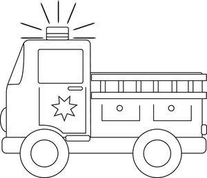 Clip art image . Firetruck clipart black and white