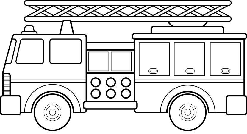 Firetruck clipart black and white. Firefighter fire truck