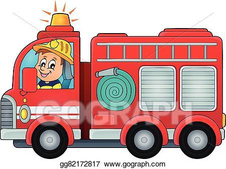 Vector art truck theme. Firetruck clipart fire car
