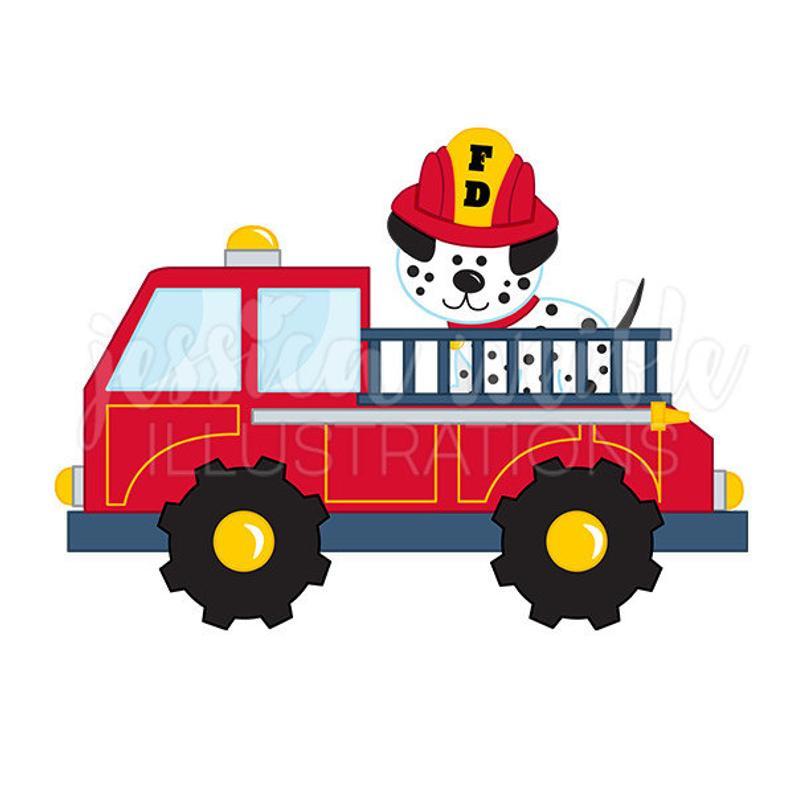 Truck with cute digital. Firetruck clipart fire dalmatian