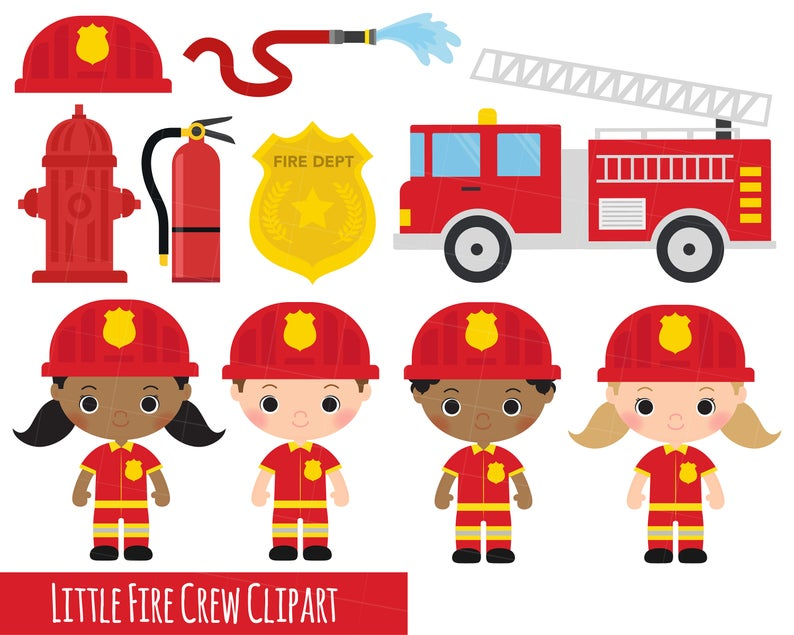 Firetruck clipart fire officer. Little crew fireman engine
