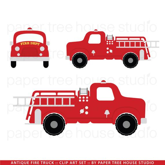 Truck clip art vintage. Firetruck clipart fire station