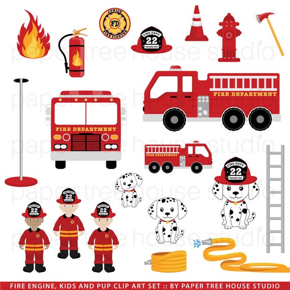 Truck clip art firefighters. Firetruck clipart fire station