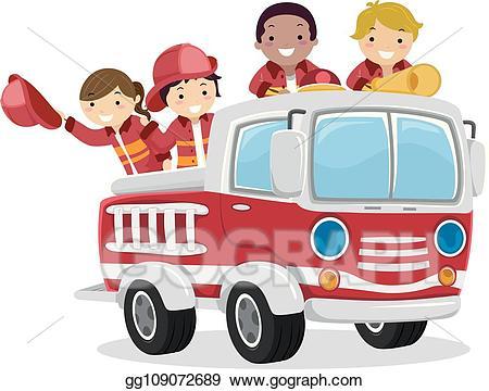 Firetruck clipart kid. Vector stock stickman kids