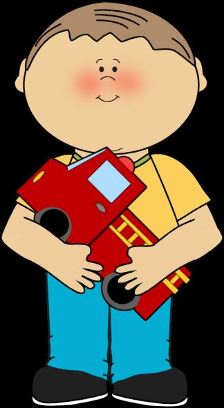 Firetruck clipart kid. Boy with a clip