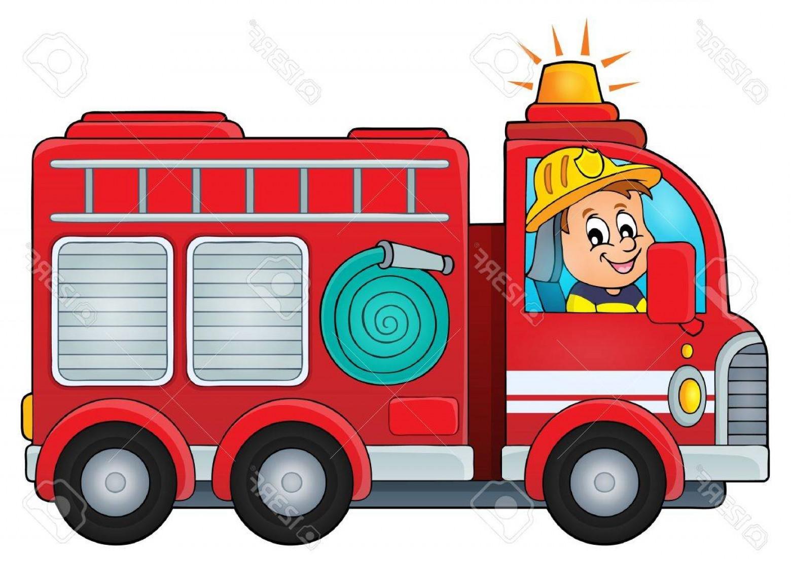 Old fire truck vector. Firetruck clipart month
